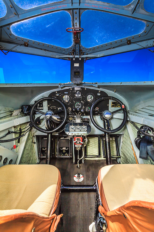 Cockpit of the Ford Tri-Motor, owned and flown by the Experimental Aircraft Association.  <br /> <br /> Created by aviation photographer John Slemp of Aerographs Aviation Photography. Clients include Goodyear Aviation Tires, Phillips 66 Aviation Fuels, Smithsonian Air & Space magazine, and The Lindbergh Foundation.  Specialising in high end commercial aviation photography and the supply of aviation stock photography for advertising, corporate, and editorial use.