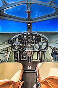 Cockpit of the Ford Tri-Motor, owned and flown by the Experimental Aircraft Association.  <br />