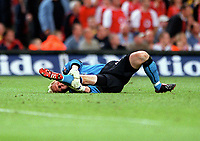 Antti Niemi (Southampton) clutches his leg in Pain,which forced the goalkeeper to leave the field through injury. Arsenal v Southampton FA Cup Final 2003 @ Cardiff Arms Park. 17/5/2003. Credit : Colorsport/Andrew Cowie.