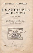 Title Page of 'Historiae Naturalis De Exanguibus Aquaticis  libri IV' (Natural History of Sea animals book 4) by Johannes Jonston. Published 1665.