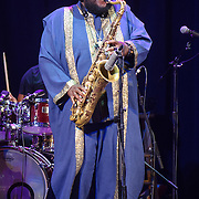 WASHINGTON, DC - August 26, 2015 - Kamasi Washington performs at the Howard Theatre in Washington, D.C. After working with artists such as Kendrick Lamar and Flying Lotus, Washington is touring behind his debut studio album, The Epic.  (Photo by Kyle Gustafson / For The Washington Post)