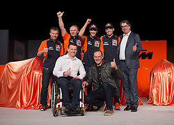 20.02.2017, Munderfing, AUT, Teampräsentation KTM Factory Racing, im Bild v.l. Pit Beirer (KTM Motorsport Director), Sam Sunderland (GBR), Heinz Kinigadner (AUT), Matthias Walkner (AUT), Stefan Pierer (KTM CEO) // from left to right Pit Beirer KTM Motorsport Director Sam Sunderland of Great Britain Heinz Kinigadner of Austria Matthias Walkner of Austria Stefan Pierer KTM CEO during a presentation of KTM factory racing at Munderfing, Austria on 2017/02/20. EXPA Pictures © 2017, PhotoCredit: EXPA/ Reinhard Eisenbauer