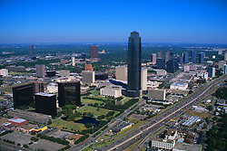 Stock photo of Williams Tower rising above the Galleria area in this aerial view.