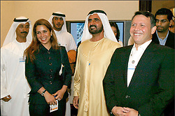 Fiole photo - Princess Haya of Jordan back in her country with her husband Dubai's Crown Prince and United Arab Emirates Defense Minister Sheikh Mohammed bin Rashed Al Maktoum who adressed the World Economic Forum (WEF) in the Dead Sea resort of Shuneh 16 May 2004. The younger wife of the ruler of Dubai, the billionaire race horse owner Sheikh Mohammed bin Rashid al-Maktoum, is believed to be staying in a town house near Kensington Palace after fleeing her marriage. Princess Haya bint al-Hussein, 45, has not been seen in public for weeks. One half of one of the sporting world's most celebrated couples, she failed to appear at Royal Ascot last month with her husband. Photo by Balkis Press/ABACAPRESS.COM