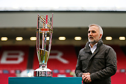 The Championship Trophy sits pitchside - Rogan/JMP - 13/04/2018 - RUGBY UNION - Ashton Gate Stadium - Bristol, England - Bristol Rugby v Doncaster Knights - Greene King IPA Championship.