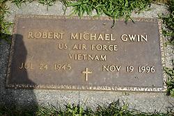 31 August 2017:   Veterans graves in Park Hill Cemetery in eastern McLean County.<br /> <br /> Robert Michael Gwin  US Air Force  Vietnam  Jul 24 1945  Nov 19 1996