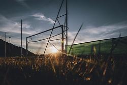 THEMENBILD - ein Fussballtor eines gesperrten Fussballplatzes bei Sonnenuntergang im Gegenlicht, aufgenommen am 15. April 2020 in Kaprun, Oesterreich // a football goal of a closed football ground at sunset against the light in Kaprun, Austria on 2020/04/15. EXPA Pictures © 2020, PhotoCredit: EXPA/ JFK