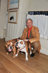 PATRICK COX and his dogs Caesar and Brutus at the launch of George's Dinner for Dogs menu in aid of The Dog's Trust held at George, 87-88 Mount Street, London on 19th March 2013.
