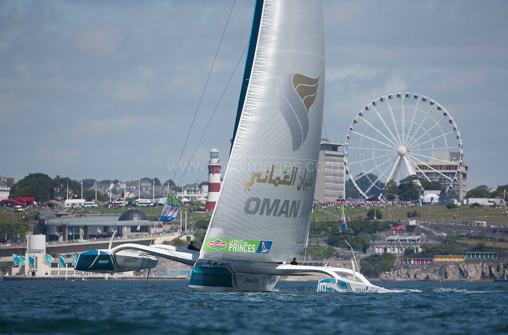 La Route des Princess. Plymouth. UK<br /> The Oman Air - Musandam MOD70 skippered by Sidney Gavignet (FRA) pictured here in action during the second day of InPort racing close to the city centre.<br /> Credit: Lloyd Images