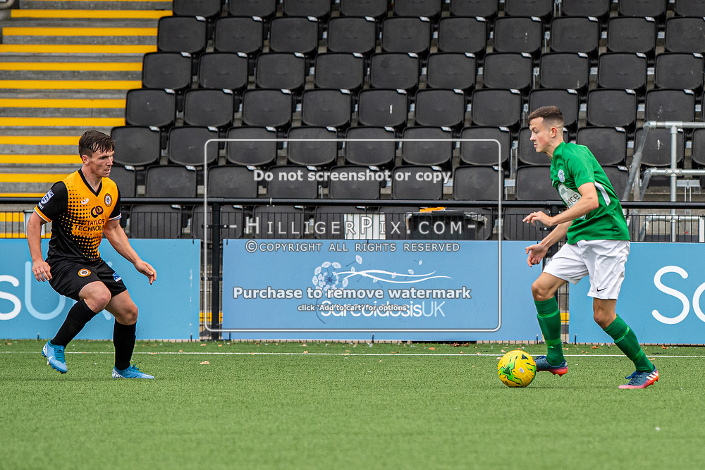 BROMLEY, UK - SEPTEMBER 22: Tom Carlse, of Cray Wanderers FC, tries to defend an attack during the Emirates FA Cup Second Round Qualifier match between Cray Wanderers and Soham Town Rangers at Hayes Lane on September 22, 2019 in Bromley, UK. <br /> (Photo: Jon Hilliger)