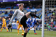 Anders Lindegaard, the Preston goalkeeper kicks the post in frustration after Anthony Pilkington of Cardiff city scores his teams and his 2nd goal from the penalty spot.Skybet football league championship match, Cardiff city v Preston NE at the Cardiff city stadium in Cardiff, South Wales on Saturday 27th Feb 2016.<br /> pic by  Andrew Orchard, Andrew Orchard sports photography.