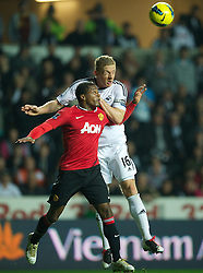 19.11.2011, Liberty Stadion, Swansea, ENG, PL, Swansea City vs Manchester United, 12. Spieltag, im Bild Swansea City's Garry Monk in action against Manchester United's Patrice Evra during the Premiership match at the Liberty Stadium. (Pic by David Rawcliffe/Propaganda). EXPA Pictures © 2011, PhotoCredit: EXPA/ Sportida/ David Rawcliff..***** ATTENTION - OUT OF ENG, GBR, UK *****