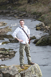 Historian Ashley Cowie with the Devils pool behind, at the 'The Devil's Gold' in Dirlot, Caithness. He is doing a seven part series for The Scottish Sun on Scotland's treasure hunts at the end of April..©Michael Schofield.