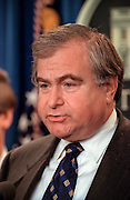 US National Security Advisor Sandy Berger responds to a question in the Briefing Room of the White House November 15, 1998 in Washington, DC. President Clinton announced that he called off airstrikes on Iraq after Saddam Hussein agreed to allow the UN to resume weapon inspections.