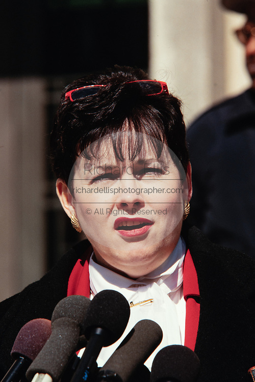 Patsy Thomasson, the former Director of White House Office of Administration, speaks with the media following her testimony in front of the Starr Grand Jury investigating the Monica Lewinsky affair February 25, 1998 in Washington, DC.