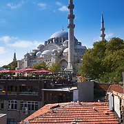 Suleymaniye Mosque and terrace of a cafe in foregound, Istanbul, Turkey