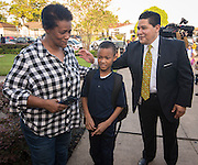 Houston ISD Superintendent Richard Carranza visits Law Elementary School on the first day of school, August 22, 2016.