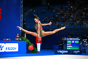 Arina Averina is a Russian gymnast. Begins practicing rhythmic gymnastics at 4 years. Her twin sister, Dina is also a competitive rhythmic gymnast.<br />