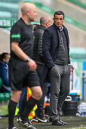Hibernian FC manager, Jack Ross looks to the assistant referee during the SPFL Premiership match between Hibernian and St Johnstone at Easter Road Stadium, Edinburgh, Scotland on 1 May 2021.