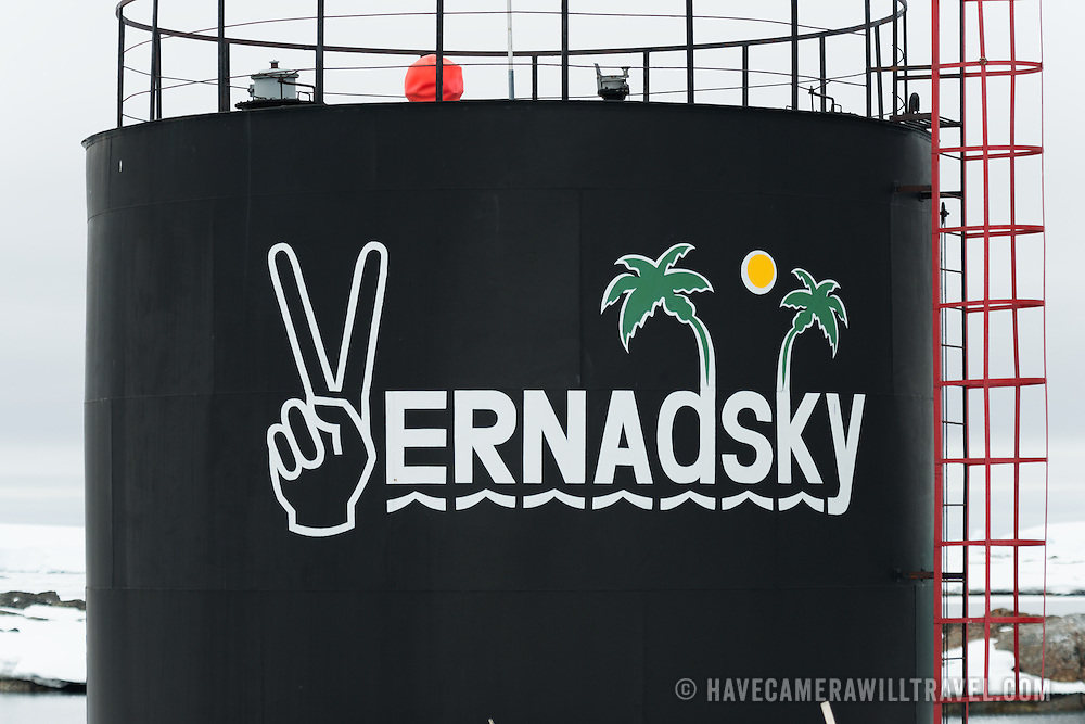 A tank with an ironic logo of the sun and palm trees at the Ukrainian Vernadsky Research base in the Argentine Islands in Antarctica.