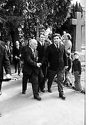 Funeral of Eamon DeValera.   (J72)..1975..02.09.1975..09.02.1975..2nd September 1975..Today saw the funeral of Eamon DeValera. He was laid to rest beside his wife Sinead in Glasnevin Cemetery,Dublin. Dignitries from all around the world attended at the funeral...Mr John Hume was pictured among the mourners at the funeral of Eamon DeValera.