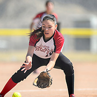 032114       Adron Gardner<br /> <br /> Grants Pirate pitcher Destiny Chavez (14) scoops up a Hatch Valley Bear ground ball in Grants Friday.