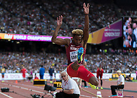 Athletics - 2017 IAAF London World Athletics Championships - Day One<br /> <br /> Event: Men's Long Jump Qualifying<br /> <br /> Tyrone Smith (BER) in the air <br /> <br /> <br /> COLORSPORT/DANIEL BEARHAM
