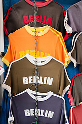Souvenir T-shirt for sale in bohemian Prenzlauer Berg district of Berlin Germany