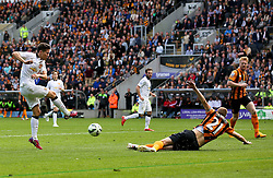 Ander Herrera of Manchester United has a shot blocked by Hull City's Michael Dawson - Photo mandatory by-line: Matt McNulty/JMP - Mobile: 07966 386802 - 24/05/2015 - SPORT - Football - Hull - KC Stadium - Hull City v Manchester United - Barclays Premier League