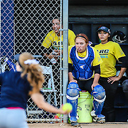 11/4/2016 - Allan Hancock College women's softball players anxiously watch the action against the the opposing women of CalState Fullerton in Fullerton, CA.<br /> <br /> ©2016 Jayme Spoolstra/Sports Shooter Academy