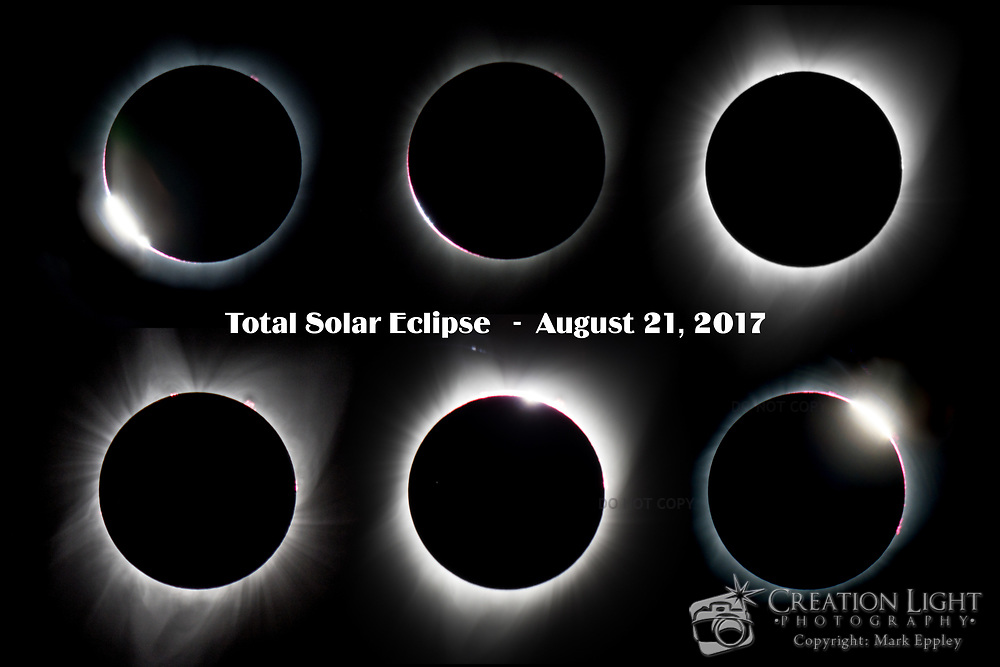 Composite Image of the progression of the 2017 Total Solar Eclipse also named the Great American Eclipse. Captured in Salem, Oregon along the path of totality on August 21, 2017.  Shows both beginning and ending diamond ring.
