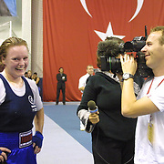 2. WOMEN'S WORLD BOXING CHAMPIONSHIPS.<br /> Denmark's Bettina KARSLEN winner.  KARSLEN with Denmark television team Dilek Sabanci Sport Hall Antalya/Turkey<br /> Photo by Aykut AKICI/TurkSporFoto