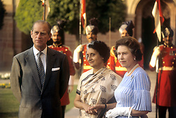 File photo dated 17/11/1983 of Queen Elizabeth II and the Duke of Edinburgh with India's Prime Minister Indira Gandhi, centre, at the President's Palace, Rashtrapati Bhavan, New Delhi. Prince Philip's final public engagement takes place on Wednesday, before he retires at the age of 96.