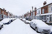 Terraced housing in the snow in Kings Heath on 24th January 2021 in Birmingham, United Kingdom. Deep snow arrived in the Midlands giving some light relief and fun during the current lockdown for people who simply enjoyed the weather.