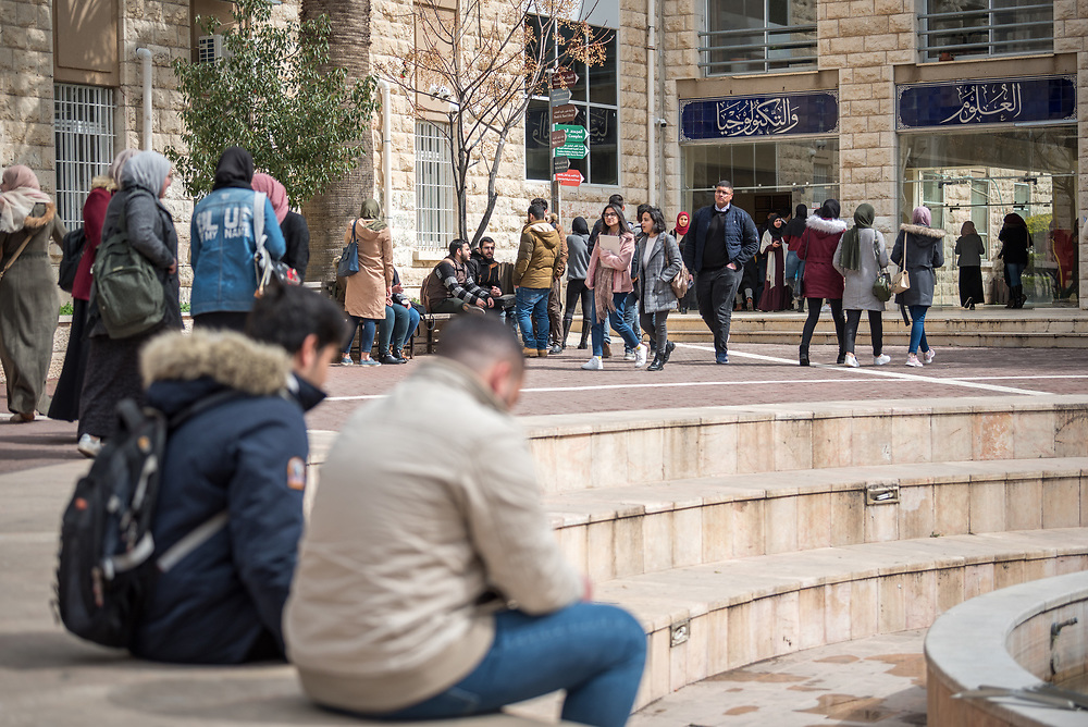 26 February 2020, Abu Dis, Palestine: Students go about their day at Al-Quds University in Abu Dis.