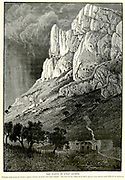 Engraving on Wood of The Cliffs of Wady Leimon [Wadi Amud] from Picturesque Palestine, Sinai and Egypt by Wilson, Charles William, Sir, 1836-1905; Lane-Poole, Stanley, 1854-1931 Volume 2. Published in New York by D. Appleton in 1881-1884
