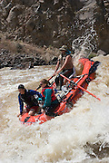 Vertical of rafters sliding down the Rio Grande River