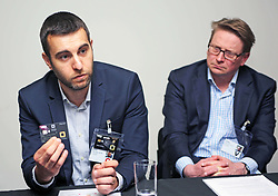 Fred Martinez (left) of digital security company Gemalto with colleague Anthony Lloyd Perks, shows a sample biometric fingerprint card launched by RBS to be tested by 200 customers. pic copyright Terry Murden @edinburghelitemedia