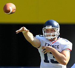 16.07.2011, Ernst Happel Stadion, Wien, AUT, American Football WM 2011, Germany (GER) vs France (FRA), im Bild Max Sprauel (France, #13, QB )  // during the American Football World Championship 2011 game, Germany vs France, at Ernst Happel Stadion, Wien, 2011-07-16, EXPA Pictures © 2011, PhotoCredit: EXPA/ T. Haumer