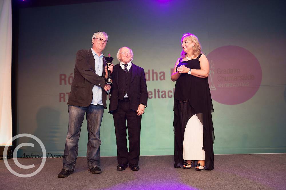 """report free. TG4, the Irish language television station, was presented with the Lifetime Achievement Award by President Michael D. Higgins at the Oireachtas Media Awards. Other winners on the night included Bláthnaid Ní Chofaigh for her weekly RTÉ Raidió na Gaeltachta show 'Bláthnaid Libh', Stíofán Ó Fearail, from Gaeltacht band Seo Linn and Alan Titley, Irish Times columnist.<br /> Best Radio Broadcaster went to Raidio na Gaeltachta's Rónán Mac Aodha Bhuí whilst Síle Nic Chonaonaigh took home the award for Best Television Broadcaster. Galway's Tara Breathnach won Best Actor for her role as the mother of an autistic boy in Maidhm.<br /> The annual awards, which took place in the Salthill Hotel, Galway, celebrate achievement and excellence in the Irish language media sector and honour actors, journalists, presenters, programme makers and others who have excelled in their contributions in the last year. A new category for Best Short Film was introduced this year and was won by Meangadh Fíbín for their film Snámh in aghaidh Easa.<br /> """"It's a huge honour to have the President present the awards, particularly as TG4 celebrates its 20th anniversary this year"""" said Liam Ó Maolaodha, Director of an tOireachtas. """"President Higgins played an integral part in the founding of the station and has always been an advocate for both Irish language media and the arts. These awards are one of the highlights of the Irish language media sector's calendar and reflect and celebrate the thriving industry that it's become,"""" he added.<br /> Independent filmmakers Magamedia took home the award for Best Television Series for EIPIC as well as Best Television Programme for Deoch an Dorais. The documentary tells the true story of Irishman Mike Malloy whosurvived over 20 attempts on his life in depression-era New York.<br /> Photos caption:<br /> Pictured at the Oireachtas Media Awards in the Salthill Hotel Galway was Best Radio Broadcaster went to Raidio na Gaeltachta's Rónán Mac Aodha"""