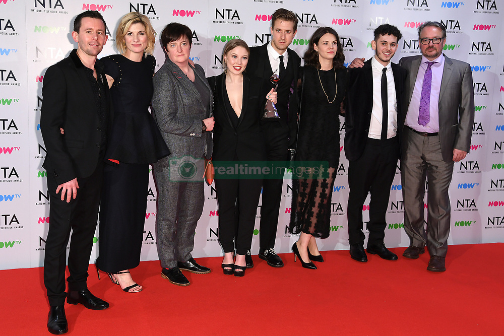 Jodie Whittaker, Charlotte Beaumont, Arthur Darvill, Deon Lee-Williams, Charlie Higson and cast and crew of Broadchurch in the press room after the National Television Awards 2018 held at the O2, London. Photo credit should read: Doug Peters/EMPICS Entertainment