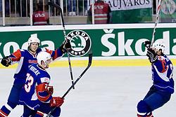 Jan Mursak, David Rodman and Marcel Rodman celebrating scoring a goal at IIHF Ice-hockey World Championships Division I Group B match between National teams of Hungary and Slovenia, on April 23, 2010, in Tivoli hall, Ljubljana, Slovenia. (Photo by Matic Klansek Velej / Sportida)