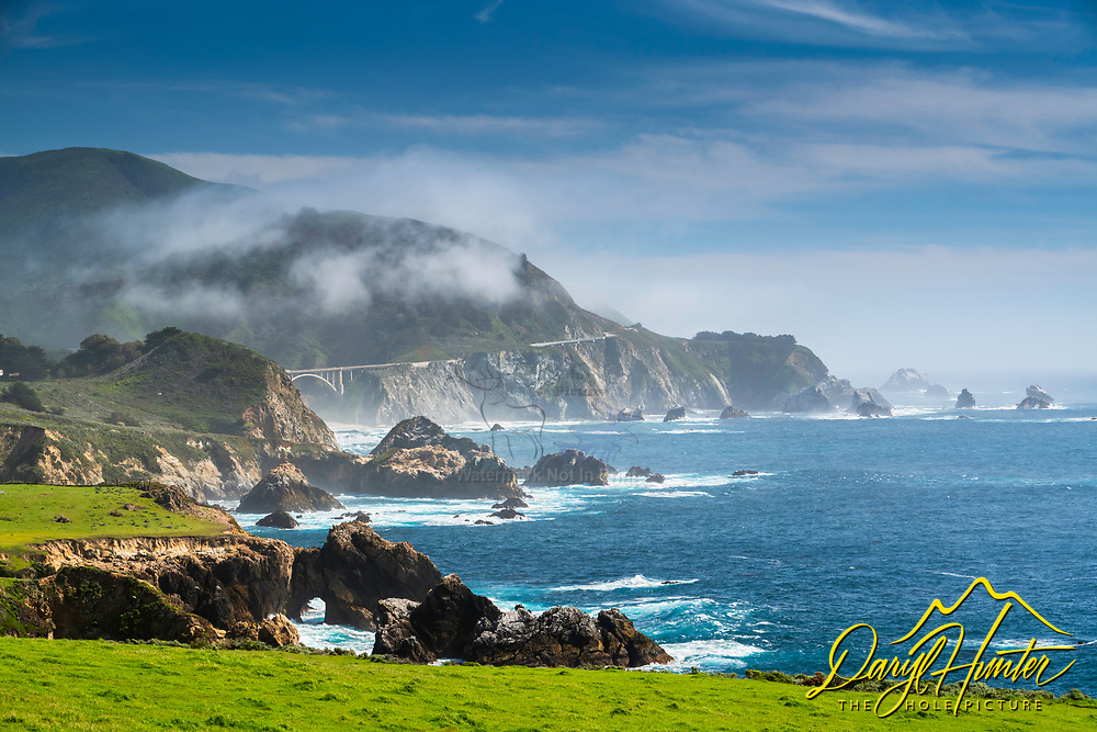 Sea cave on the Big Sur Coast, Bixby Bridge in the background.  I love spring in Big Sur.