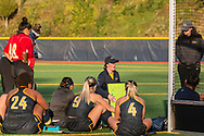 Pleasantville, New York - The Pace University field hockey coach talks to her team at halftime of a Northeast-10 Conference field hockey playoff game on Oct. 31, 2017.