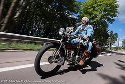 Frank Westfall of NY on his 1912 Henderson during the Motorcycle Cannonball Race of the Century. Stage-2 from York, PA to Morgantown, WV. USA. Sunday September 11, 2016. Photography ©2016 Michael Lichter.