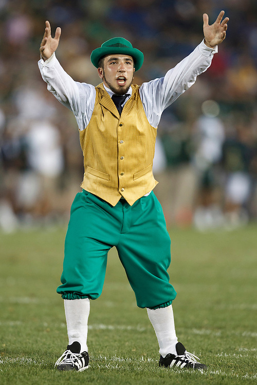 Notre Dame leprechaun Michael George performs during NCAA football game between Notre Dame and South Florida.  The South Florida Bulls defeated the Notre Dame Fighting Irish 23-20 in game at Notre Dame Stadium in South Bend, Indiana.