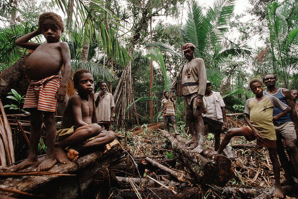 Jungle logging camp near Sawa Village in the Asmat swamp of Irian Jaya, Indonesia. Since the making of this photograph, Irian Jaya was renamed Papua.