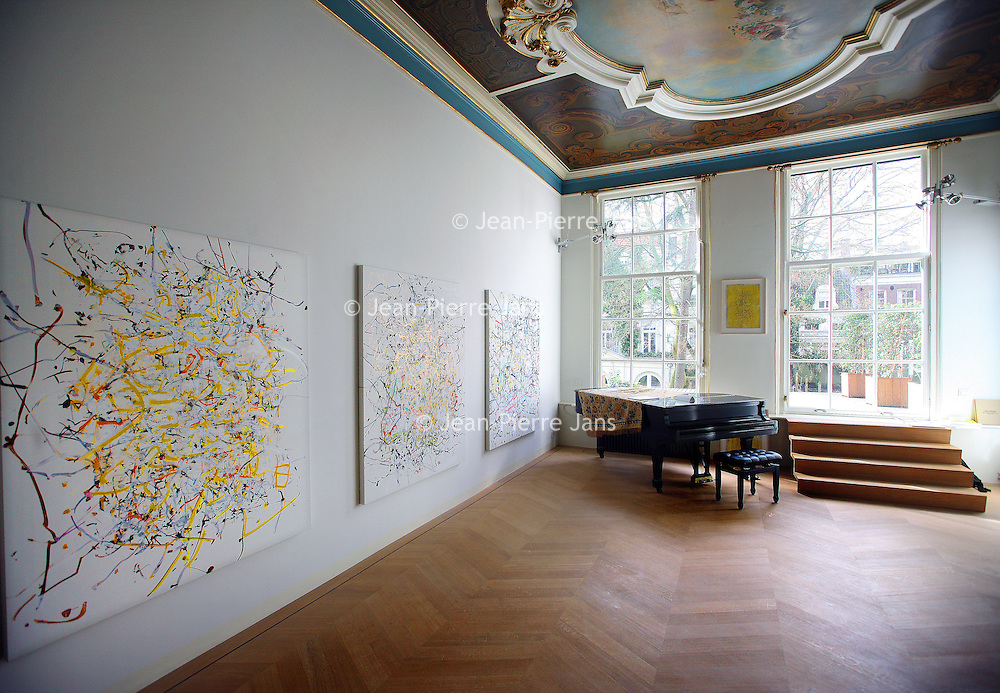 Nederland, Amsterdam , 21 maart 2014.<br /> The Merchant house heeft een bijzondere tentoonstelling met werk van the Chamberlain drawings by Jan Frank<br /> The Merchant House—a contemporary art space (Art &) and a cultural think tank (& Concept, at Herengracht 254, a modern version of a traditional canal house shows an exhibition of modern visual arts.