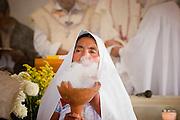 24 APRIL 2005 - SAN CRISTOBAL DE LAS CASAS, CHIAPAS, MEXICO: An indigenous Catholic Community near SCDLC, these folks are Chamulans. PHOTO BY JACK KURTZ