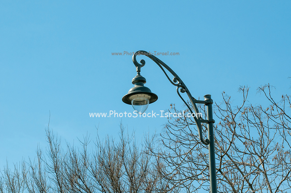 Retro style lamppost with blue sky background in Jerusalem, Israel